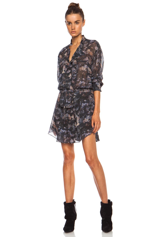 Isabel Marant Carla Printed Georgette Belted Silk Dress In