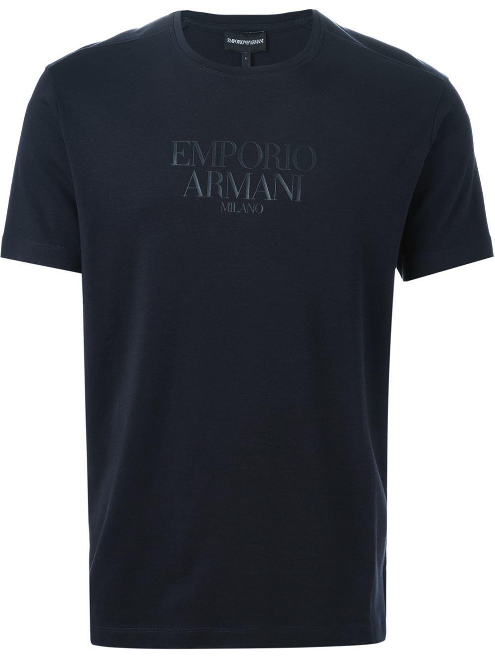 Emporio Armani Blue Logo Print T Shirt For Men Lyst