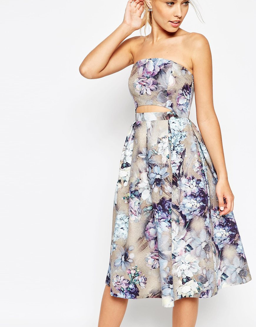 Asos Salon Two Piece Vintage Floral Prom Dress in Blue | Lyst