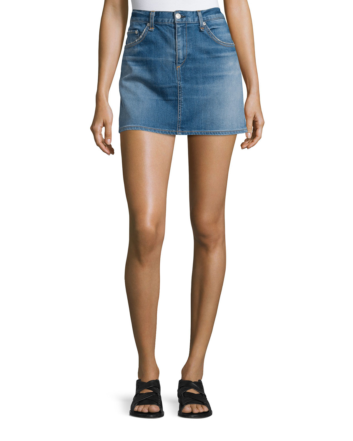 Model  Frayed Distress Mini Skirt  Denim Low Rise For Women In Dark Rinse