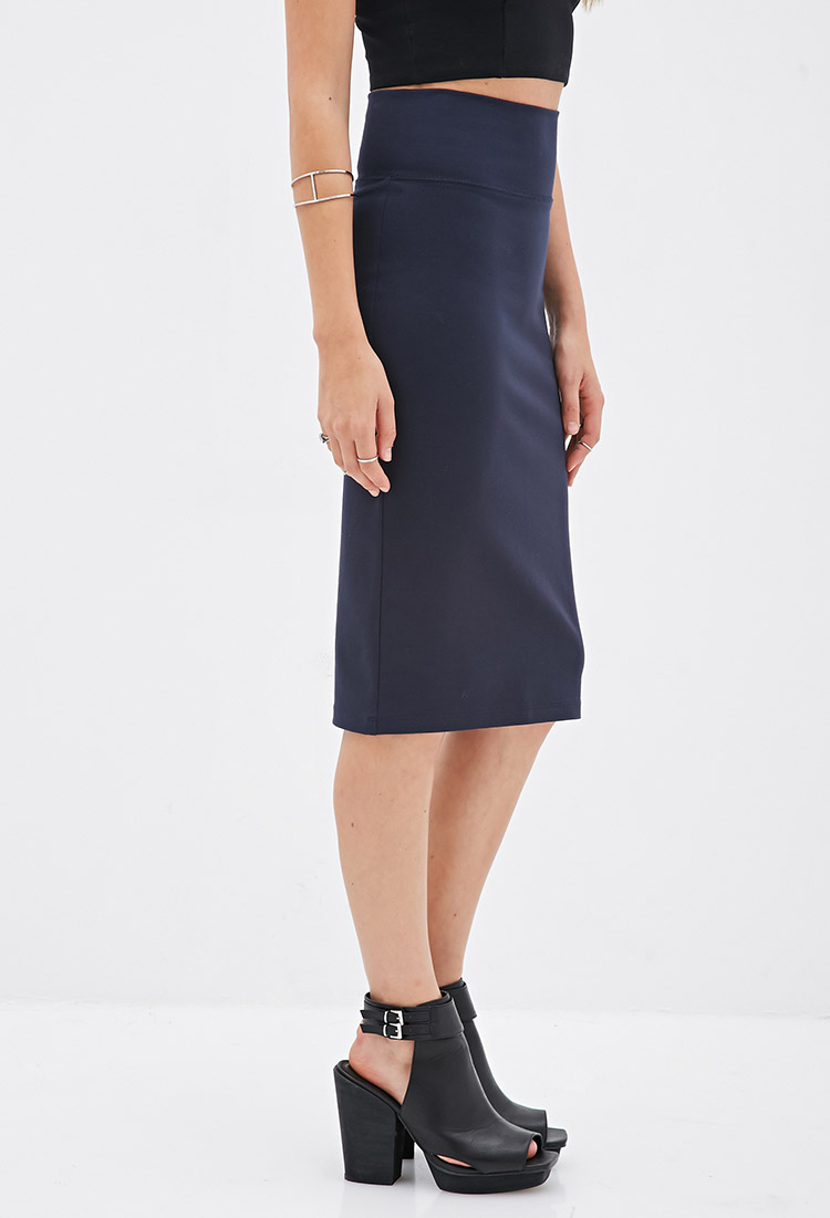 Forever 21 Stretch-knit Pencil Skirt in Blue | Lyst