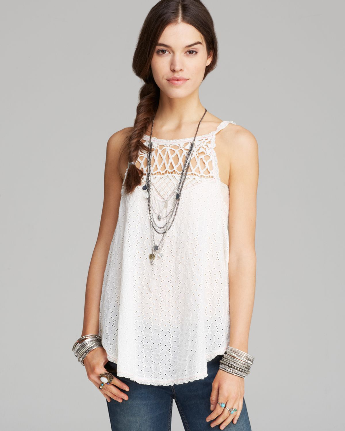 Free People Top I Got My Eyelet On You In White Lyst
