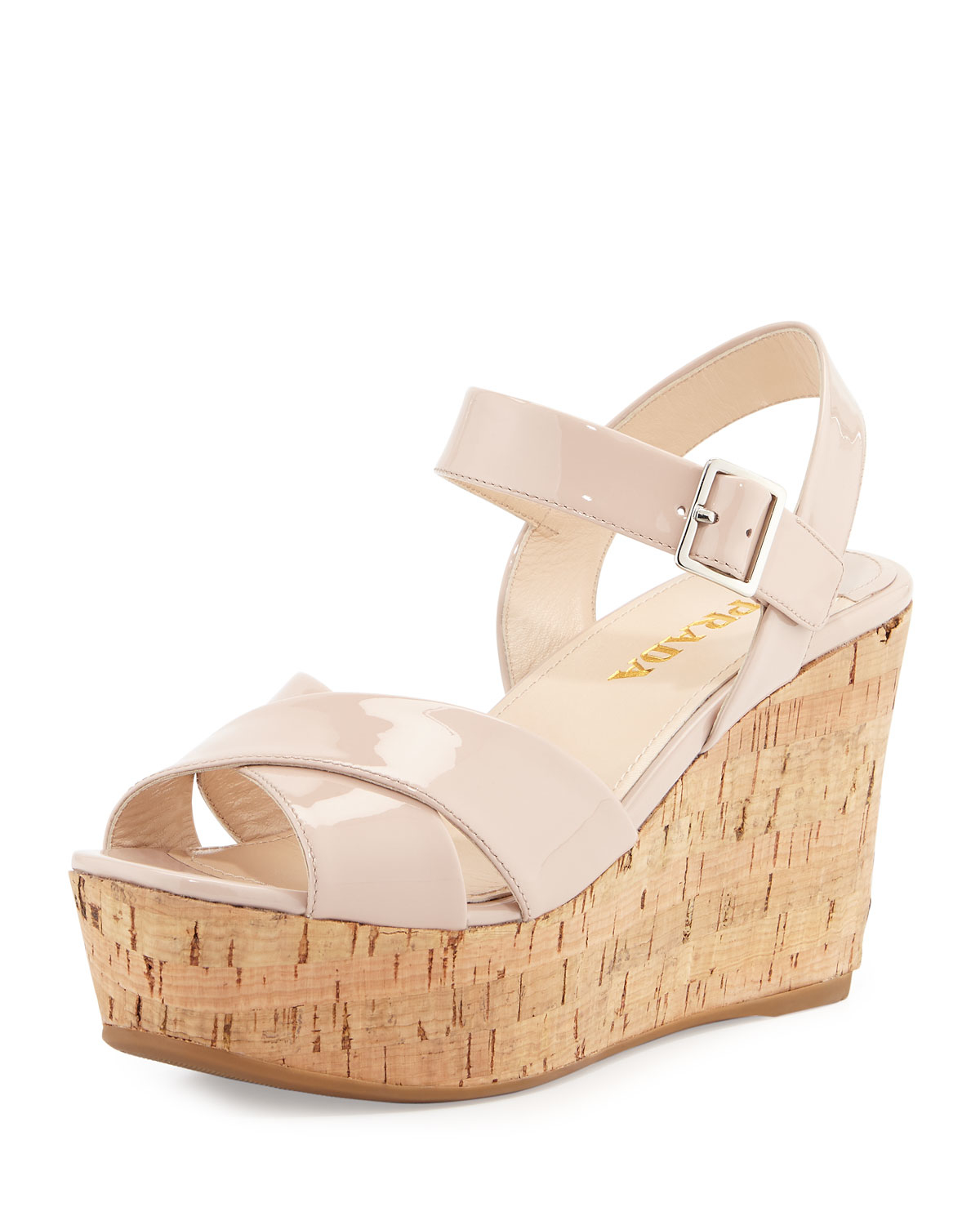 Prada Patent Leather Cork Wedge Sandal in Khaki (NATURAL) | Lyst