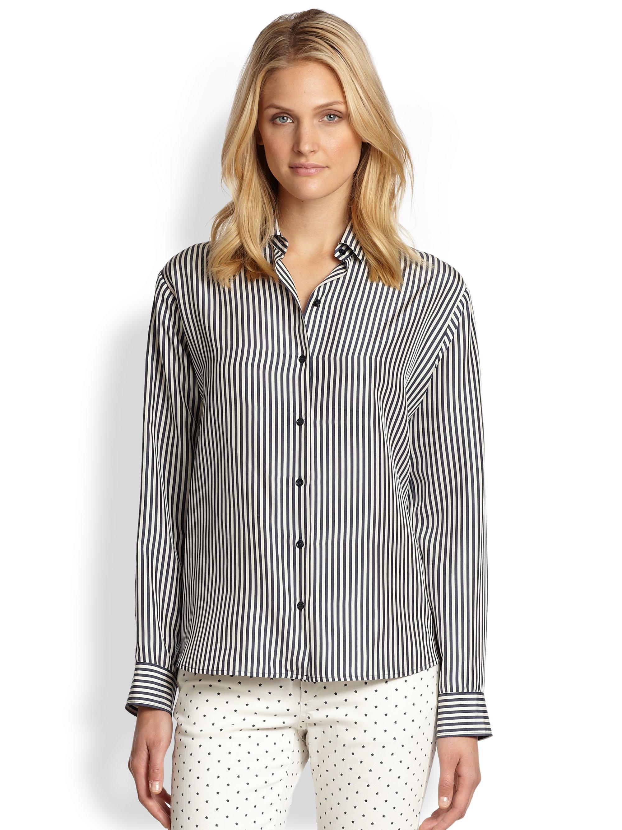 Weekend By Maxmara Anta Silk Striped Button Down Shirt In