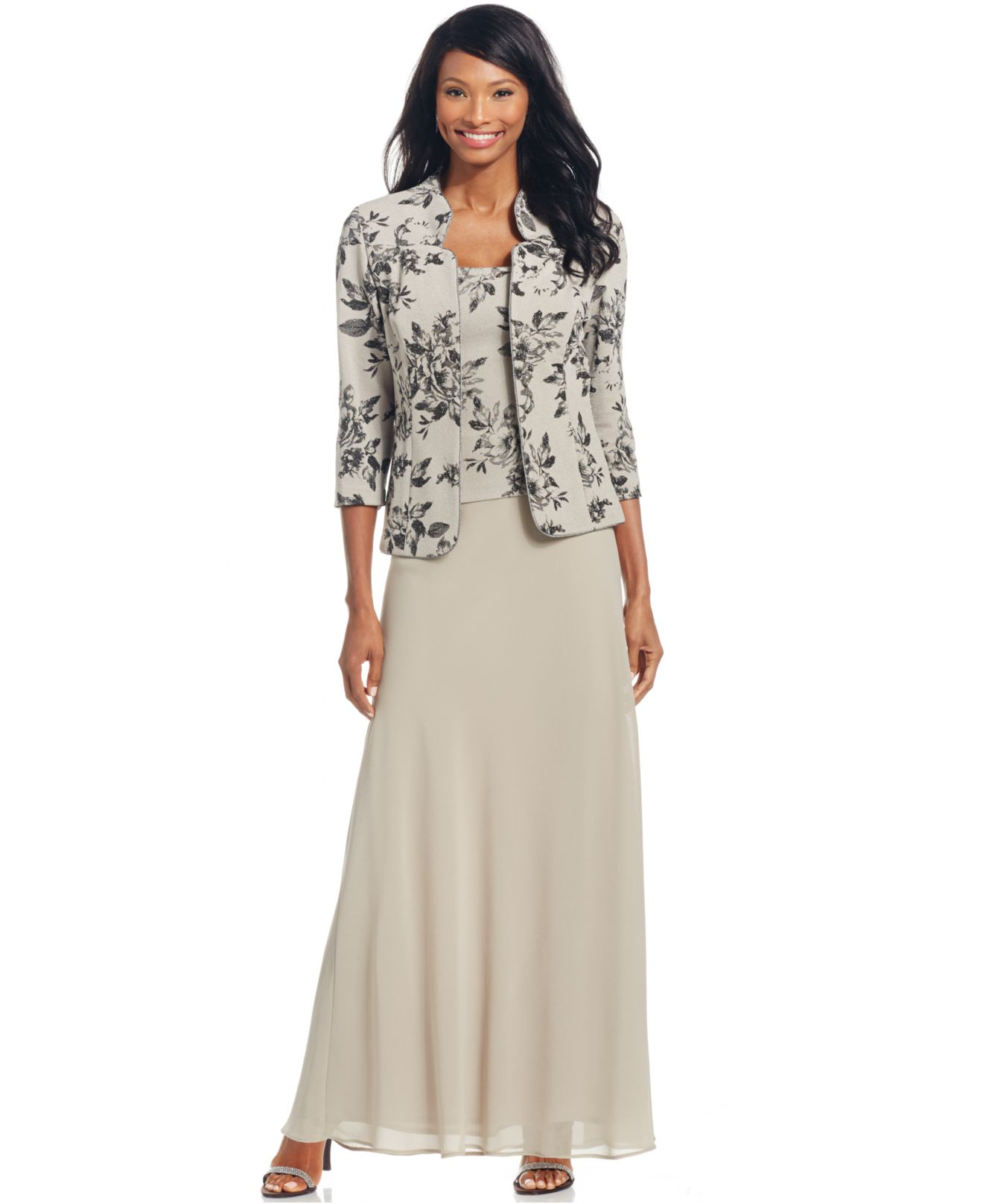 Lyst Alex Evenings Petite Floral Print Gown And Jacket In Gray
