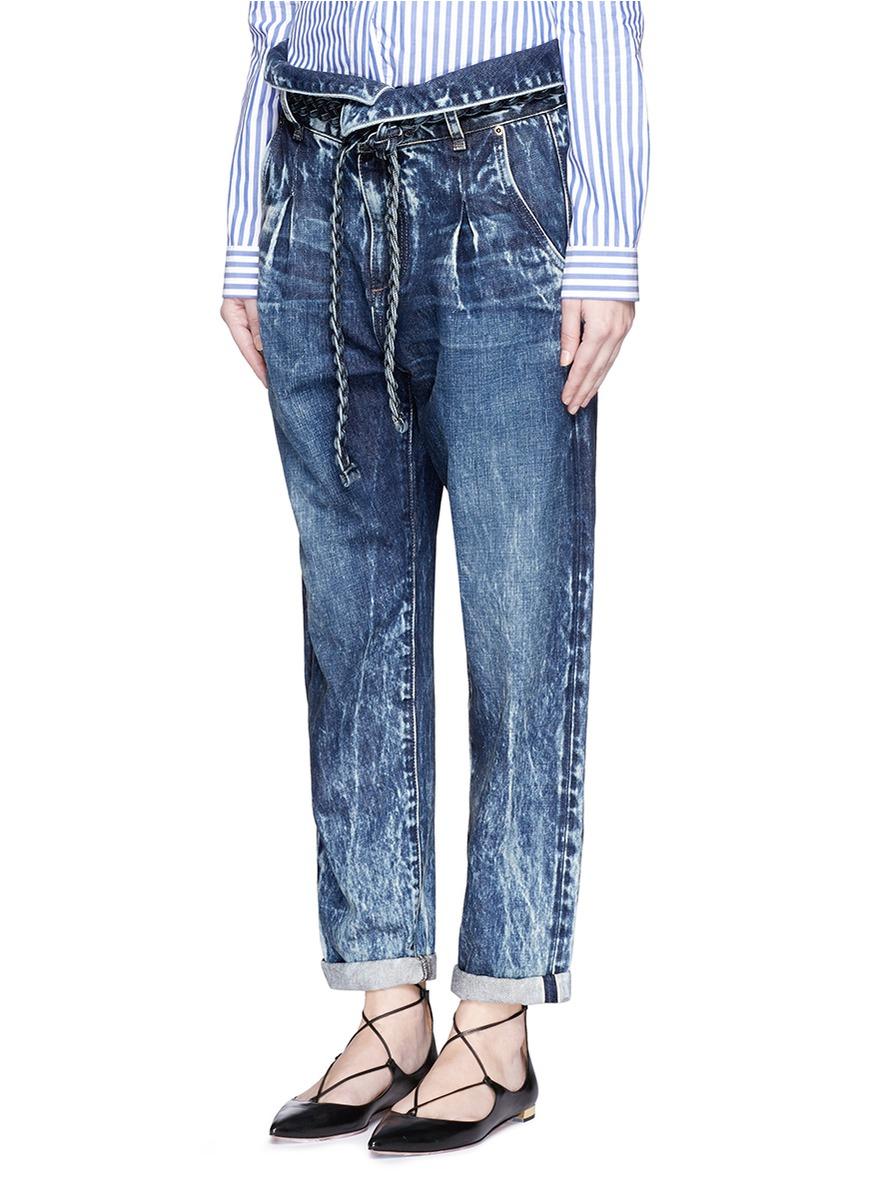 Tortoise Morenia Paperbag Waist Girlfriend Jeans In Blue