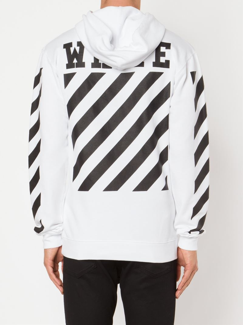 Off-white c/o virgil abloh Striped Panel Hoodie in White for Men ...