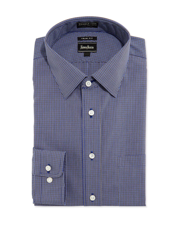 Lyst neiman marcus trim fit non iron micro check dress for Men s no iron dress shirts