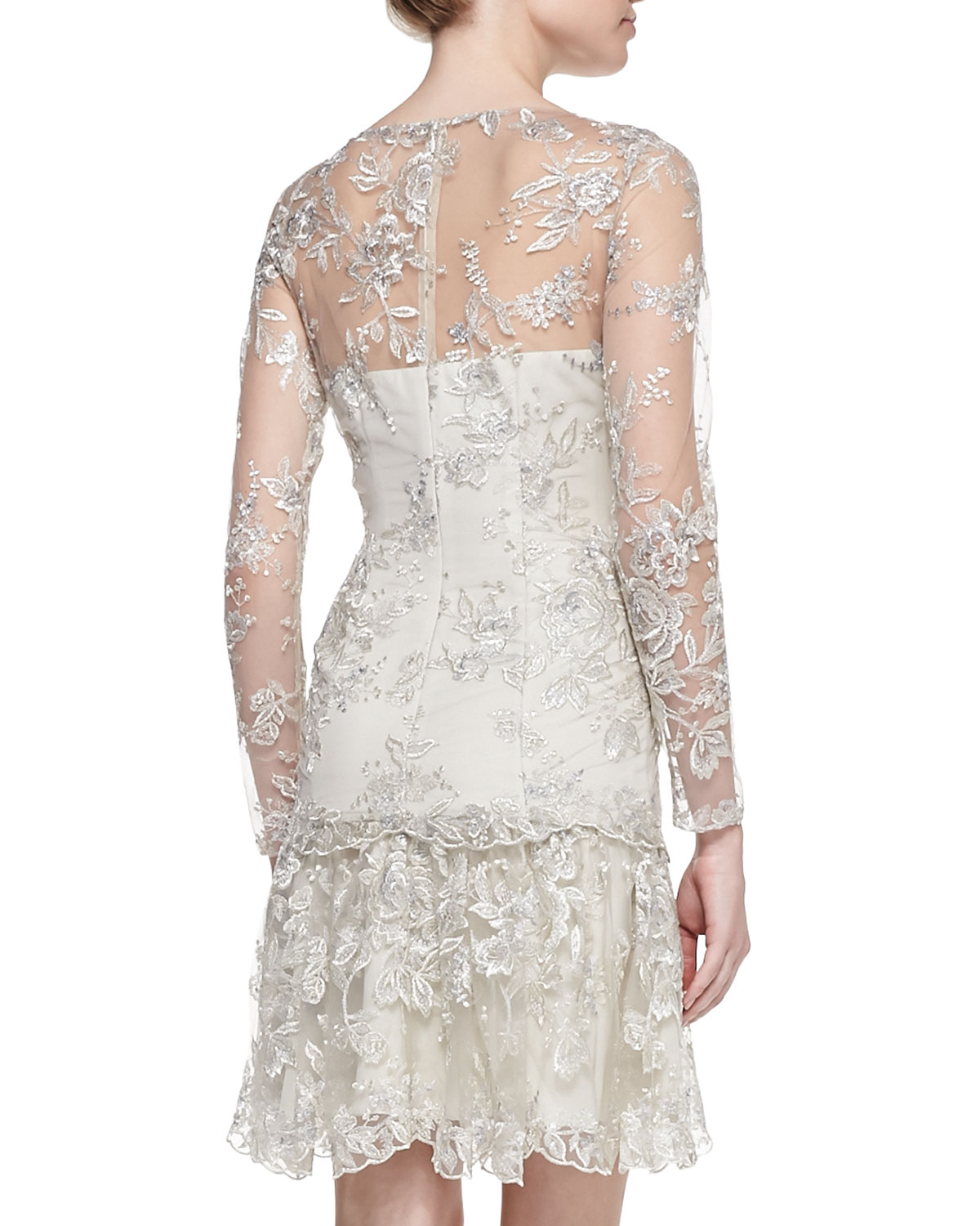 Notte by marchesa Lace Ruffle Hem Cocktail Dress in White
