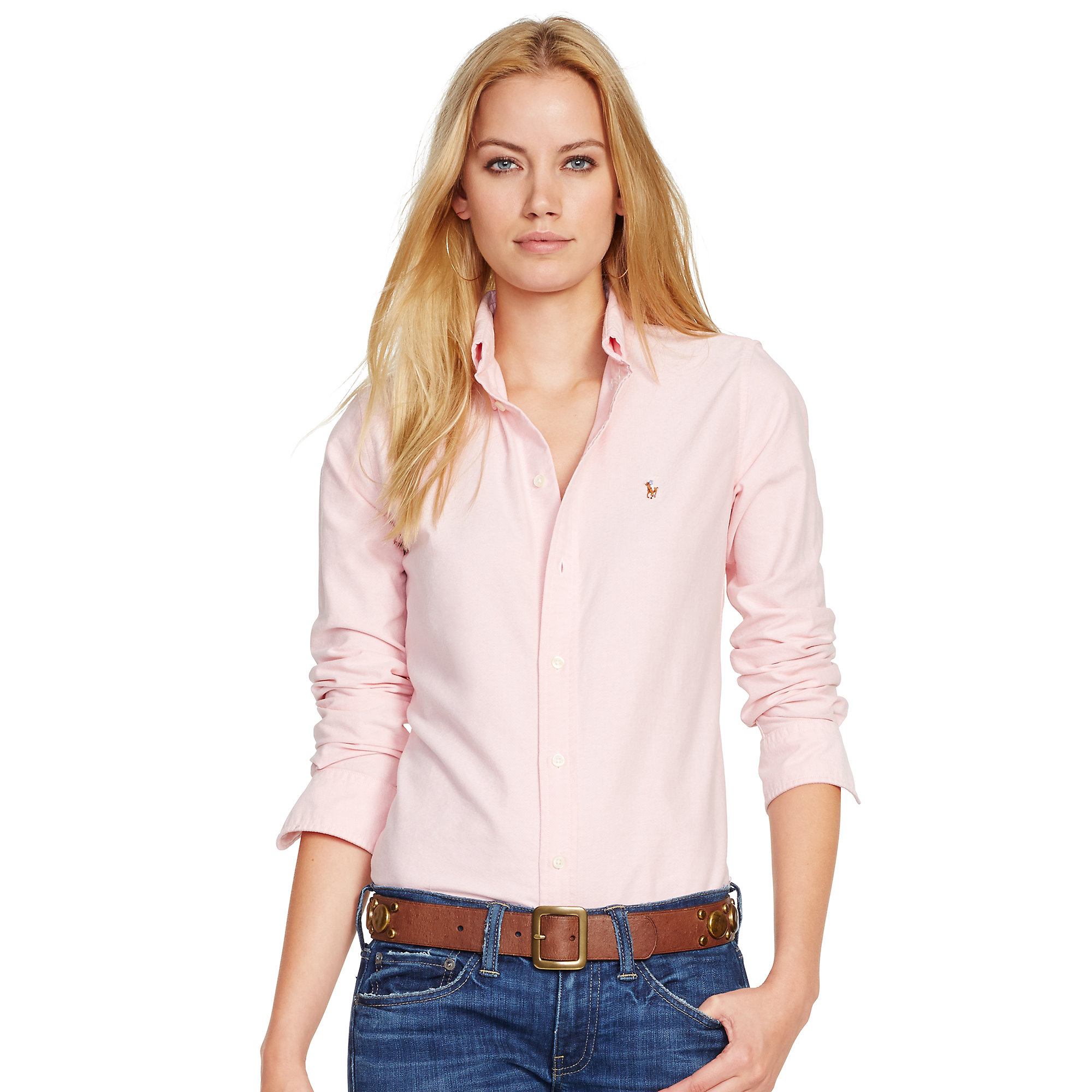 Polo ralph lauren Custom-fit Oxford Shirt in Pink | Lyst