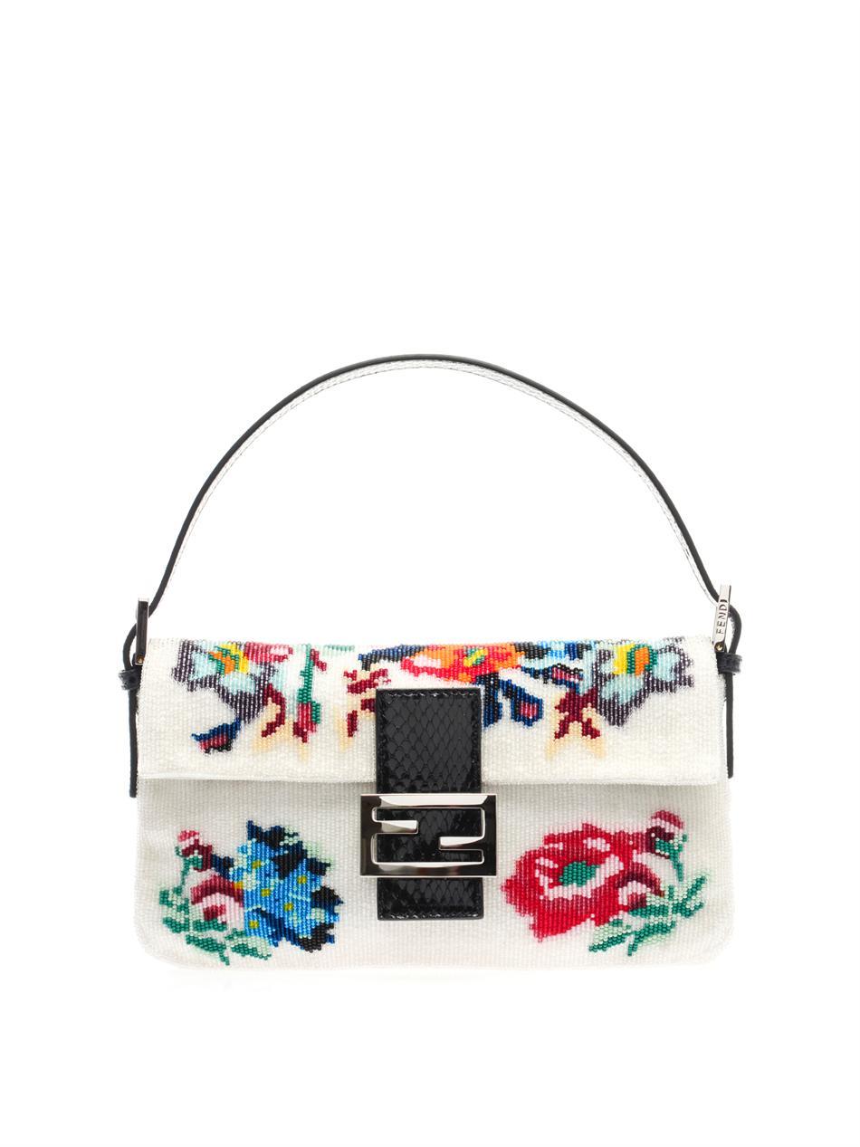 04216293c96d Lyst - Fendi Floral Beaded Baguette Bag in White