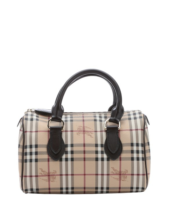 Burberry Dark Brown Nova Check  Chester  Coated Canvas Top Handle ... 4588f8269fd9a