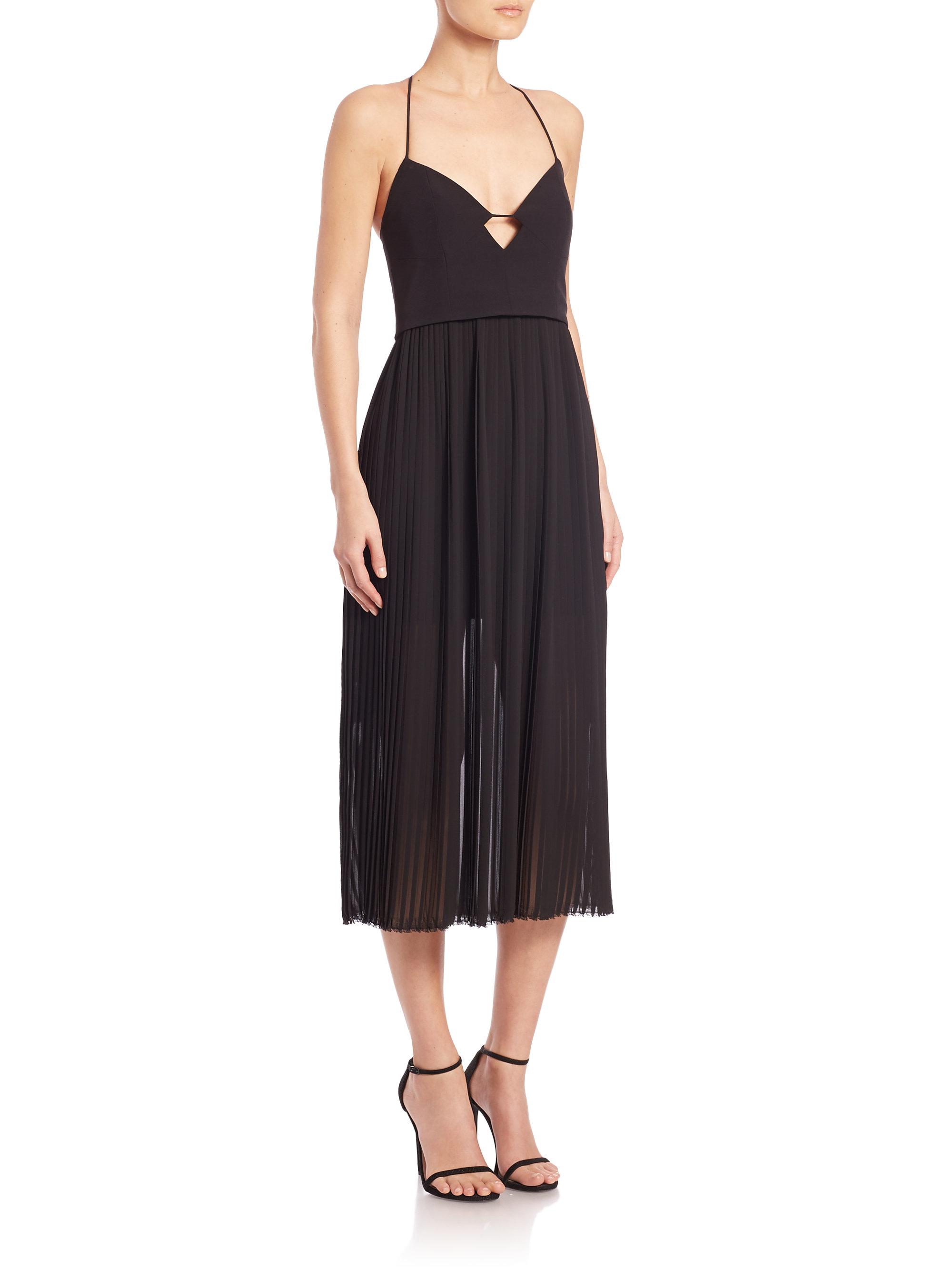nicholas pleated skirt cami dress in black lyst