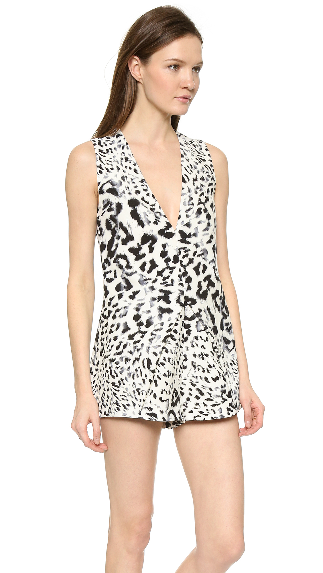 109442c05213 Lyst - Keepsake Steal The Light Romper - Snow Leopard in Natural