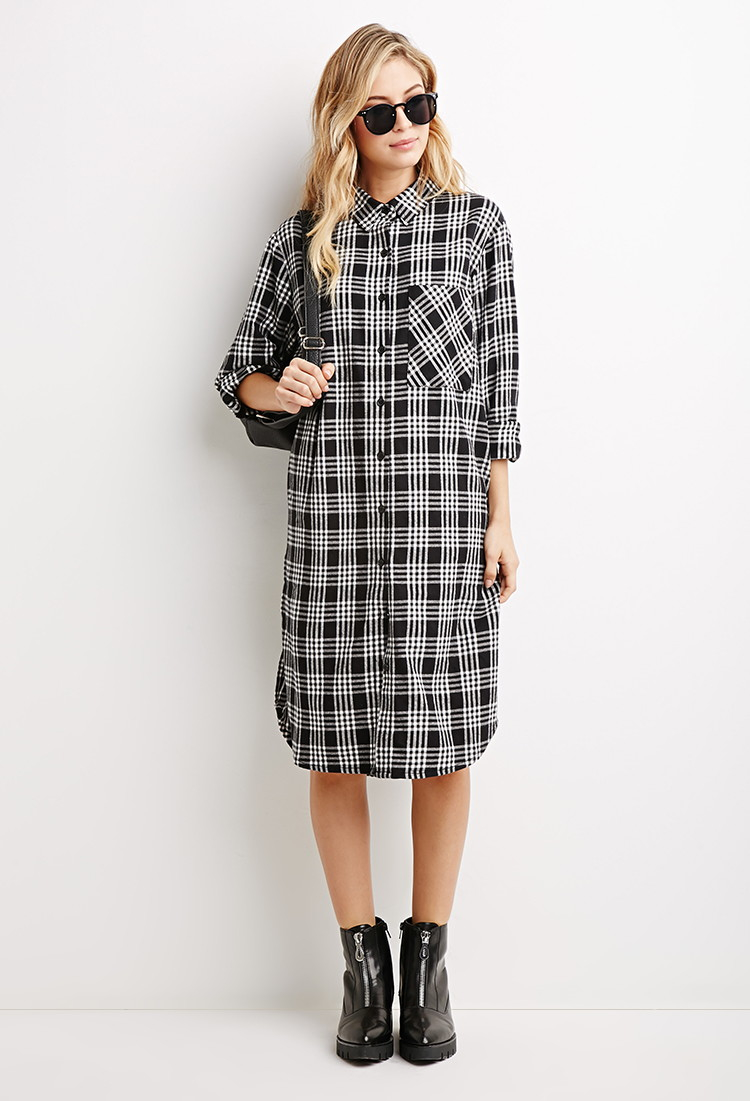Innovative Women Red Plaid Shirt Dress Vintage Long Sleeve Pockets Dress Vestidos
