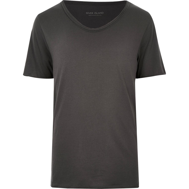 River Island Washed Black Premium Low Scoop Neck T Shirt