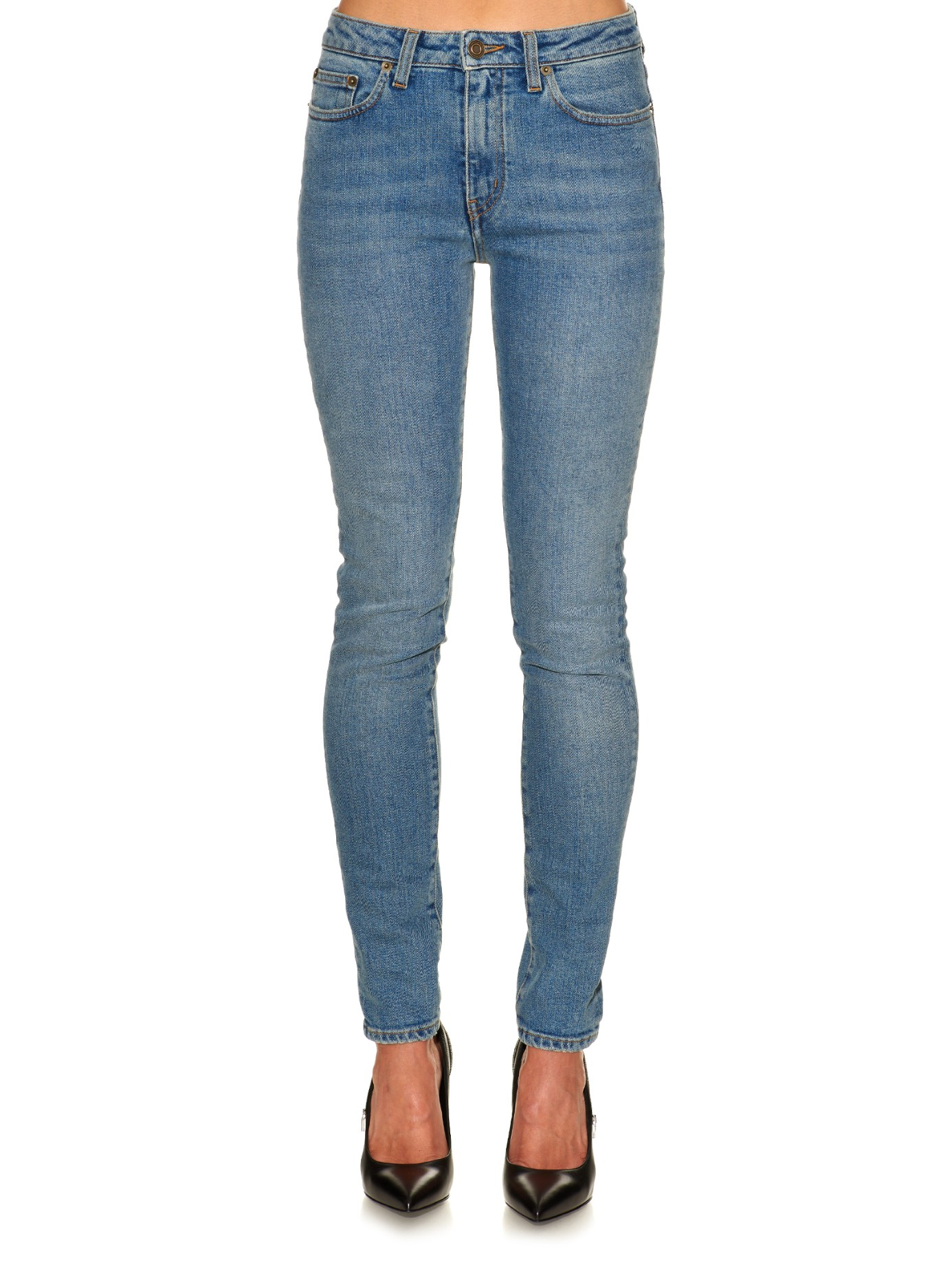 lyst saint laurent mid rise cropped skinny leg jeans in blue. Black Bedroom Furniture Sets. Home Design Ideas