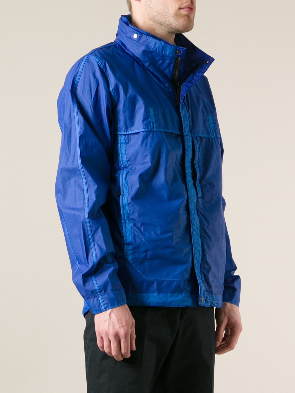lyst stone island windbreaker jacket in blue for men. Black Bedroom Furniture Sets. Home Design Ideas