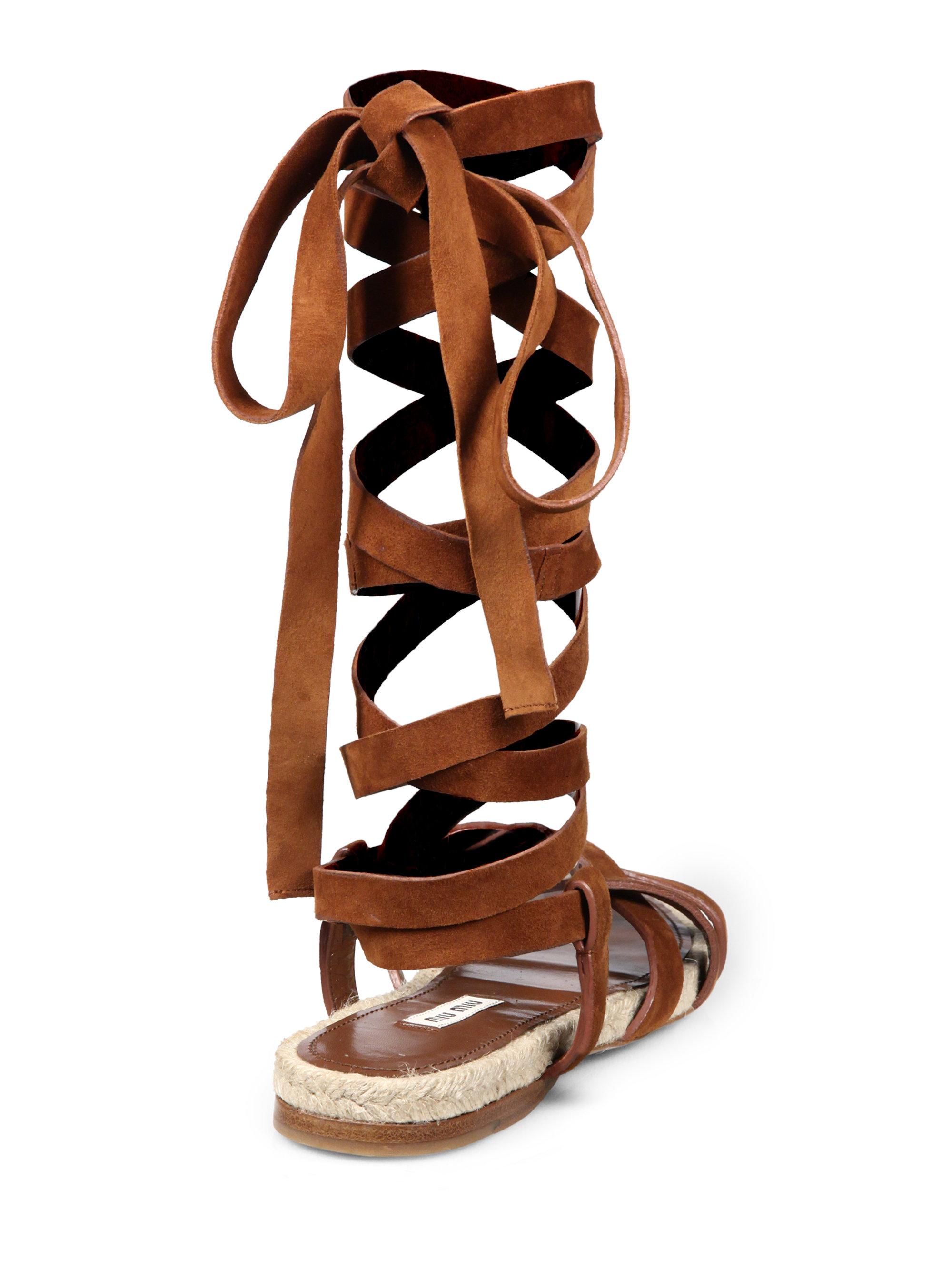 d9cd0870a69 Lyst - Miu Miu Suede   Espadrille Lace-up Flat Sandals in Brown
