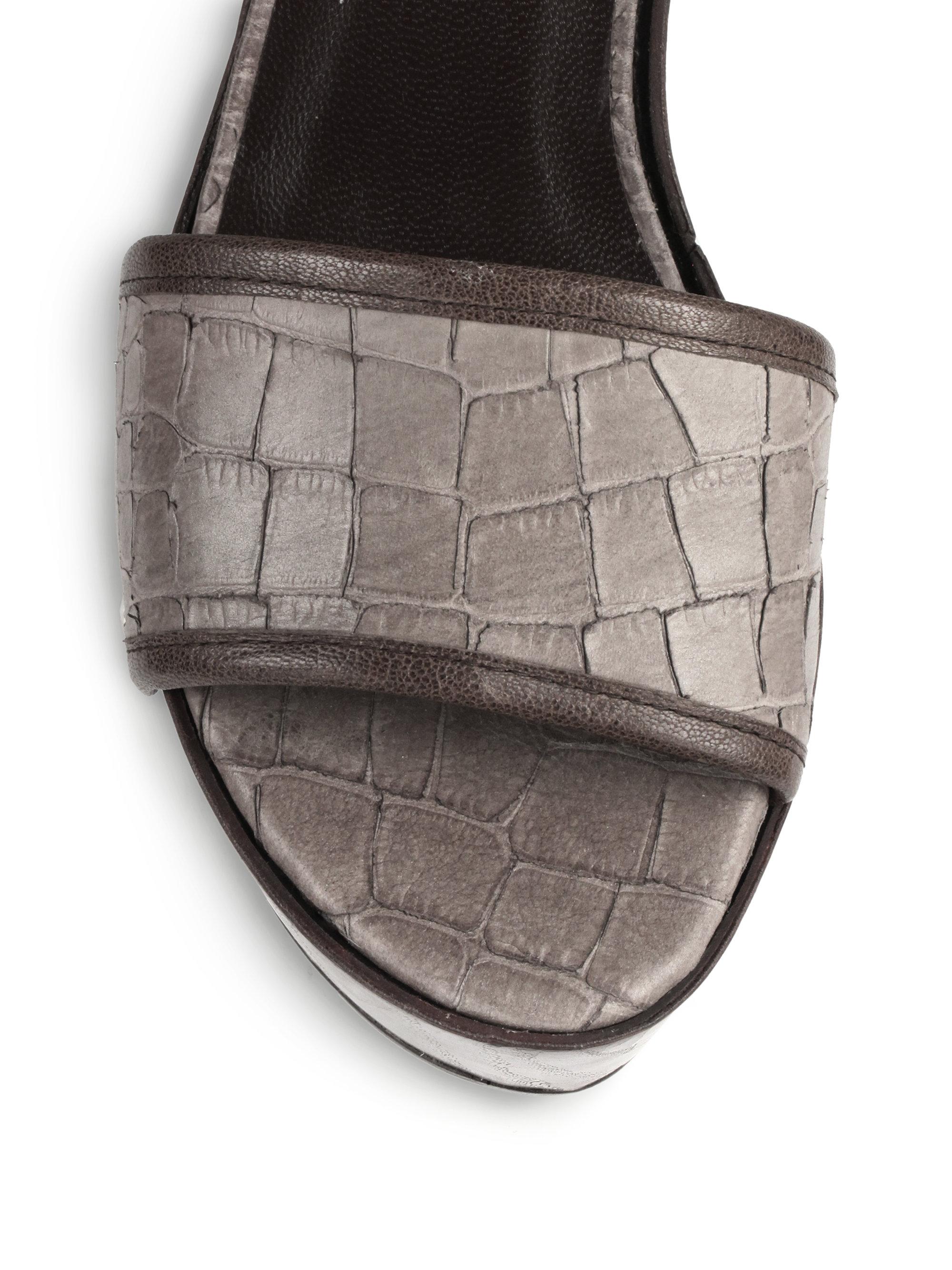Stuart Weitzman Croc Embossed Leather Platform Wedge