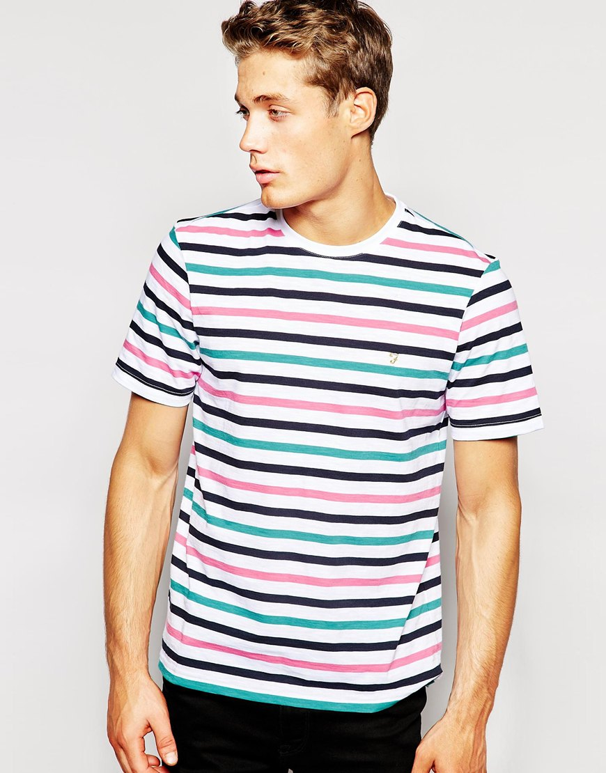 lyst farah t shirt with multi breton stripe for men. Black Bedroom Furniture Sets. Home Design Ideas