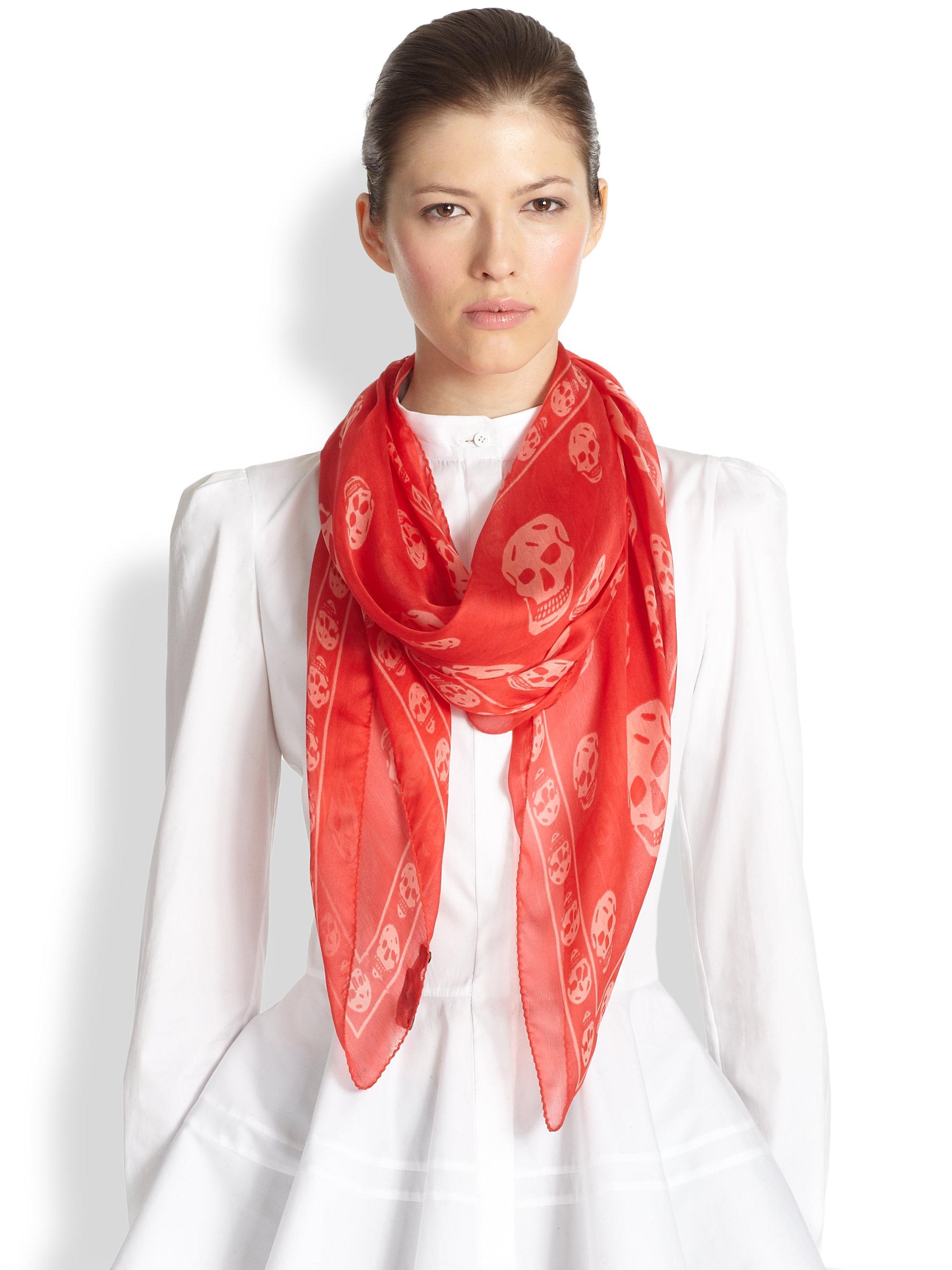 Lyst - Alexander mcqueen Silk Chiffon Skull Scarf in Red