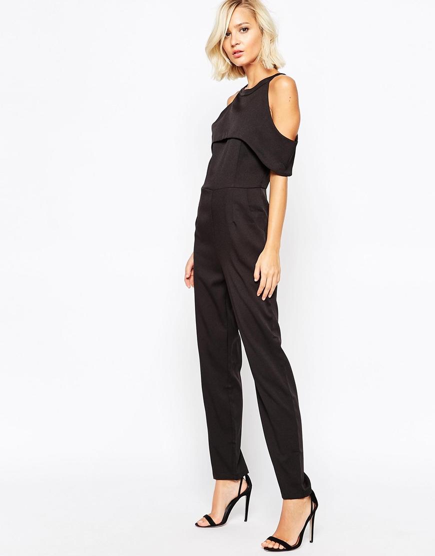 Lyst - Lavish Alice Cold Shoulder Jumpsuit in Black