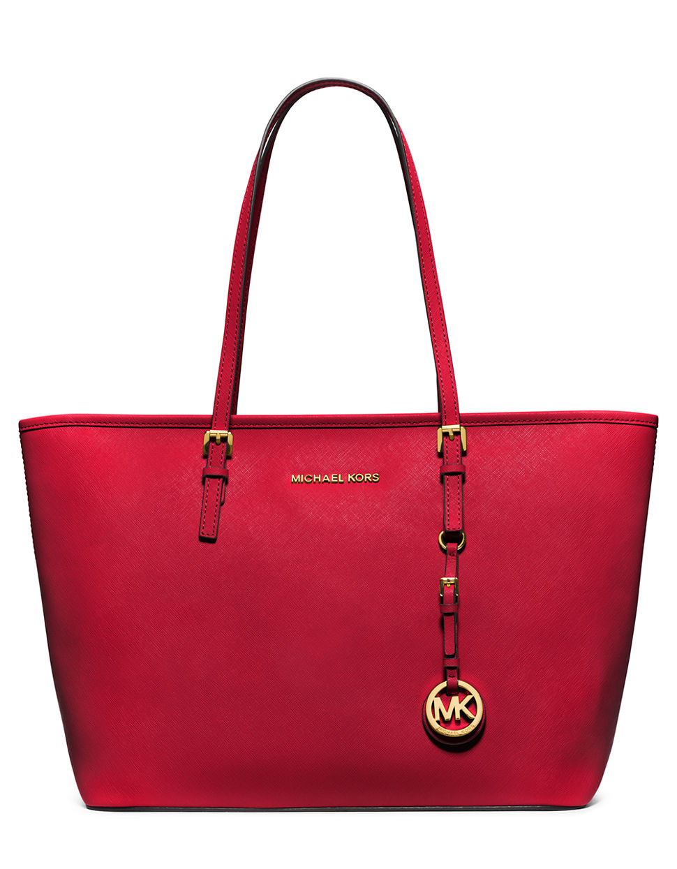 michael michael kors jet set leather travel tote in red chili lyst. Black Bedroom Furniture Sets. Home Design Ideas