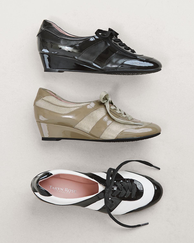 704d47771317 Lyst - Taryn Rose Parisa Lace-up Wedge Sneaker in Black