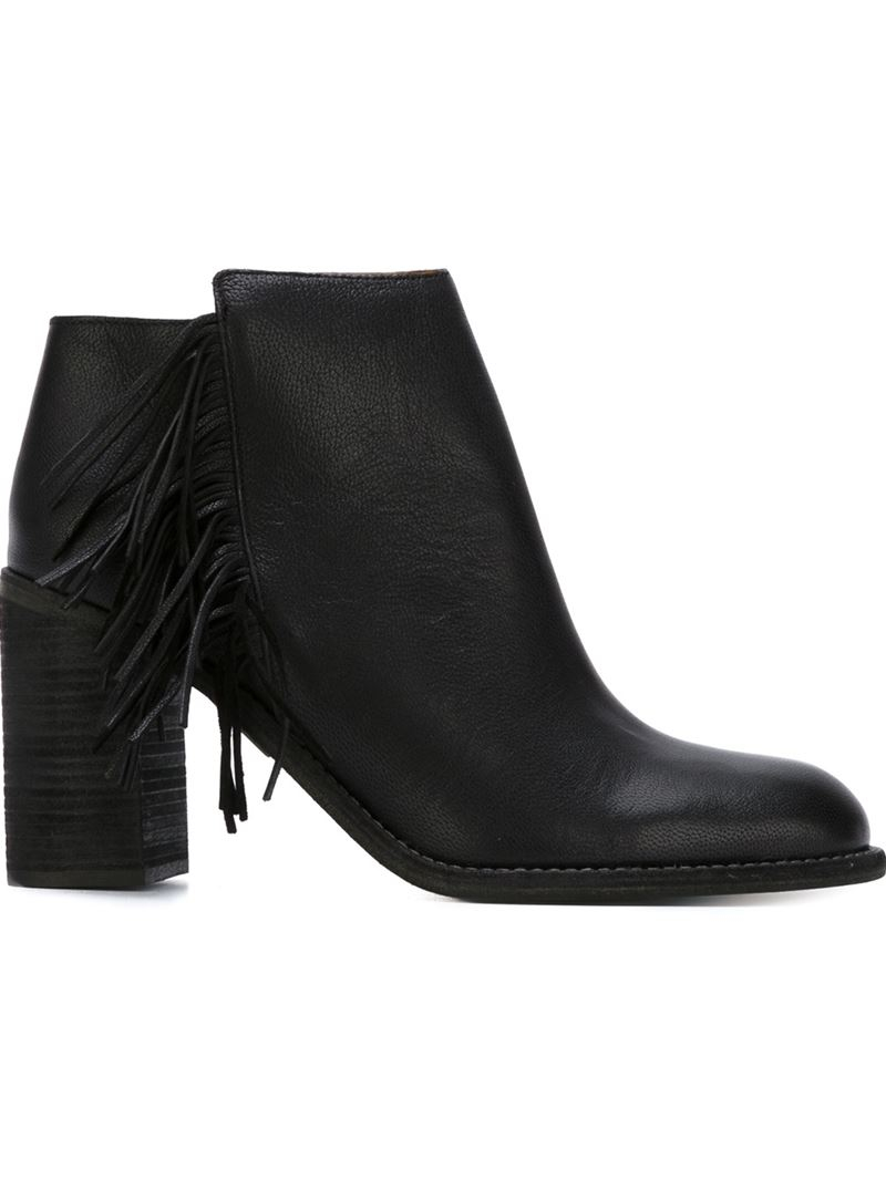 see by chlo 233 fringed ankle boots in black lyst