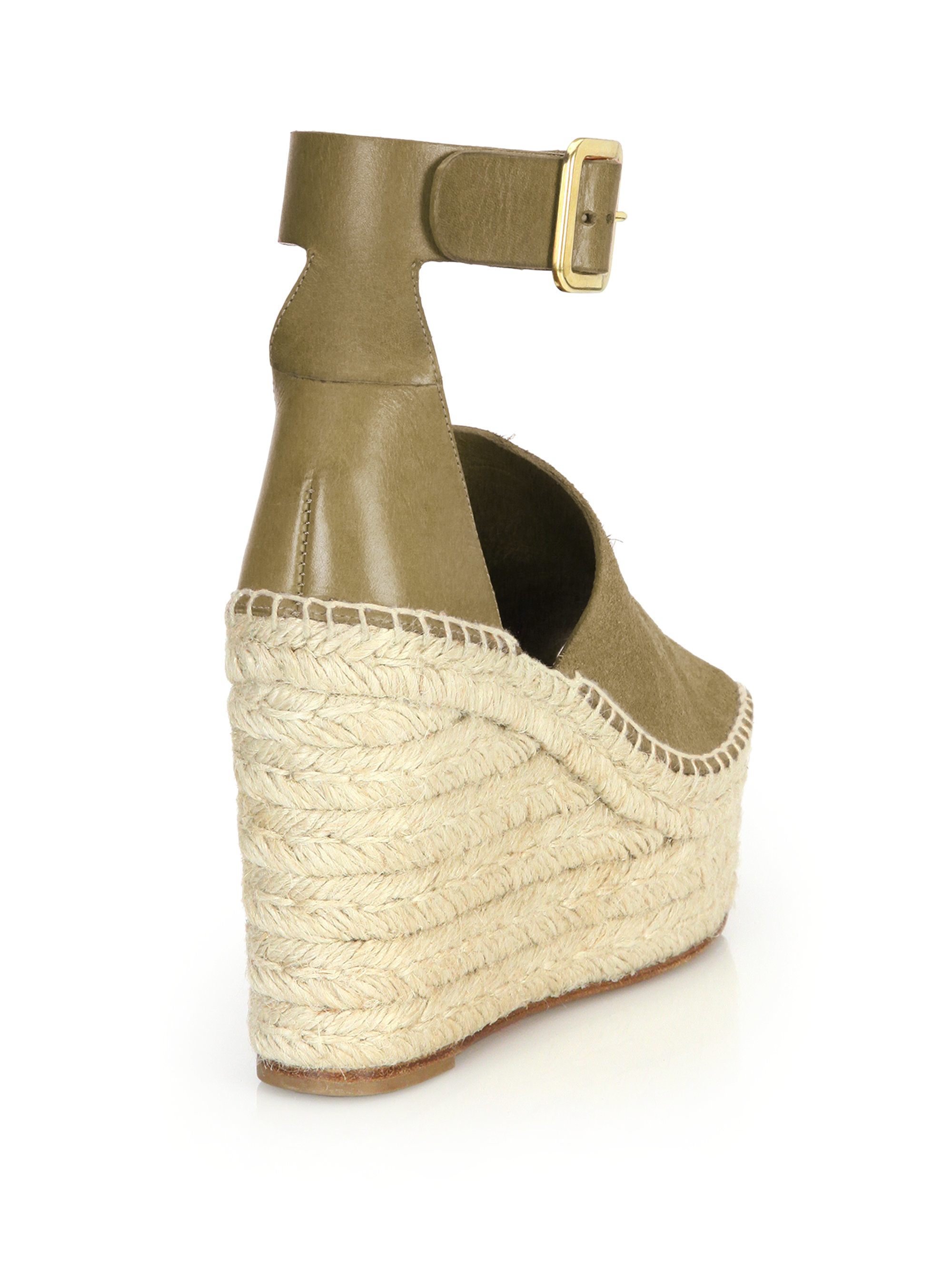 Chlo 233 Suede Amp Leather Ankle Strap Espadrille Wedge
