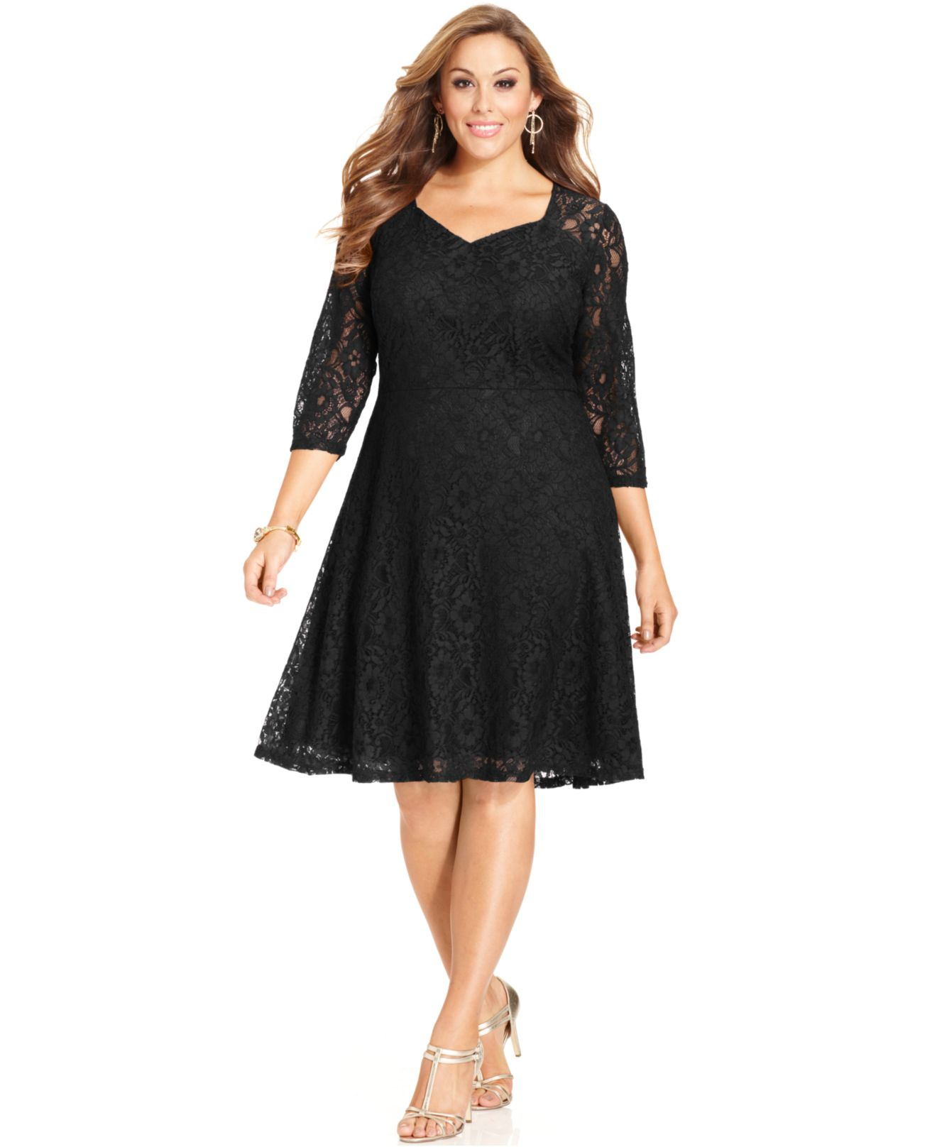 Spense Plus Size Three-quarter-sleeve Lace A-line Dress in Black - Lyst
