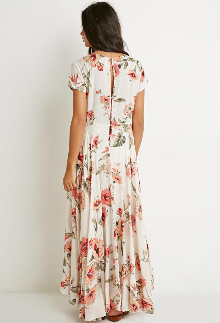 Forever 21 Floral Print V Cut Midi Dress Lyst