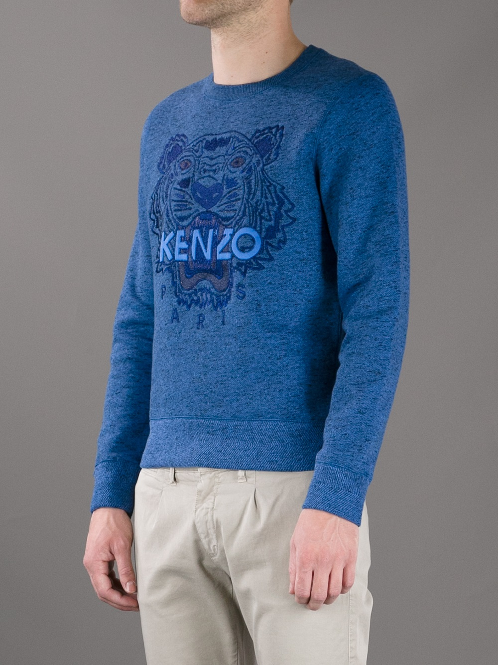kenzo embroidered tiger sweater in blue for men lyst. Black Bedroom Furniture Sets. Home Design Ideas