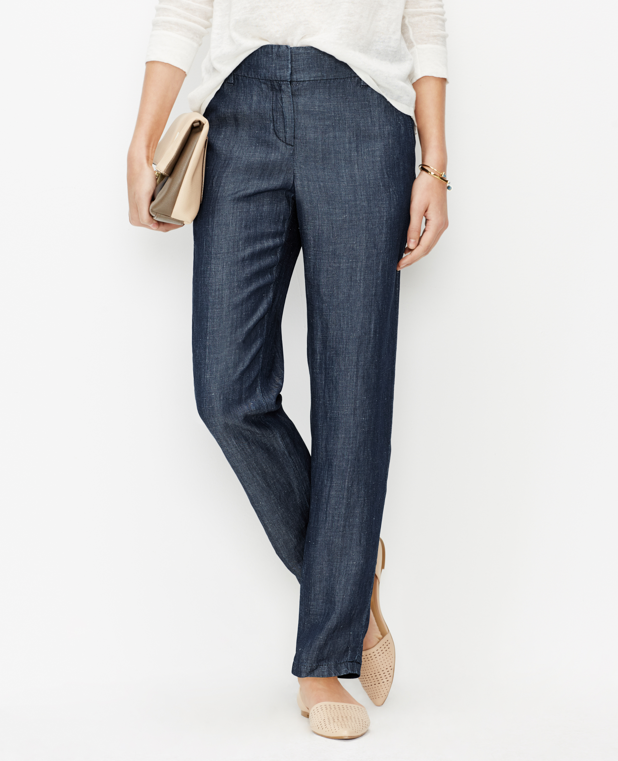Lyst ann taylor chambray relaxed ankle pants in blue for Chambray jeans
