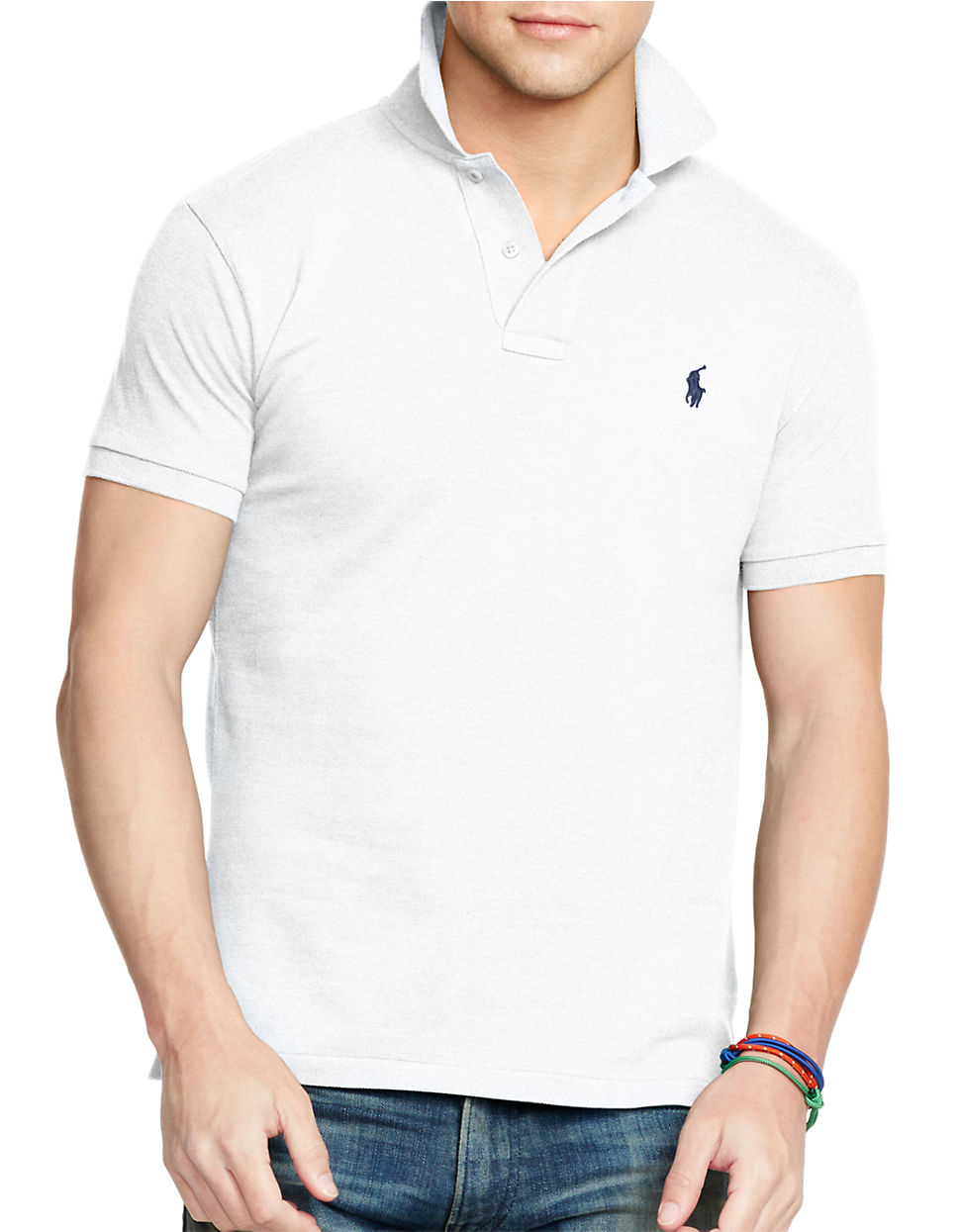 polo ralph lauren slim fit polo in white for men lyst. Black Bedroom Furniture Sets. Home Design Ideas