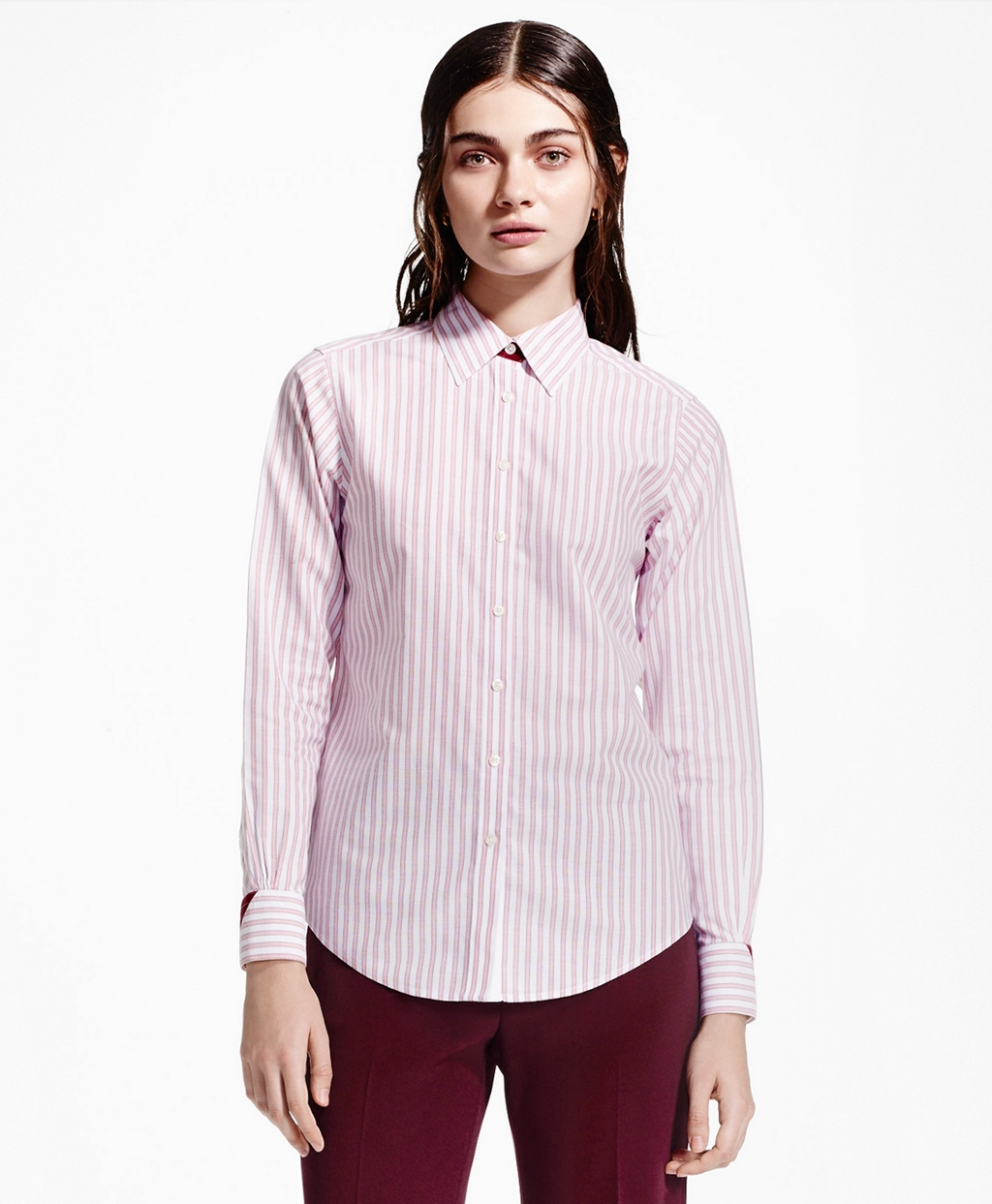 Brooks brothers non iron stripe dress shirt in pink lyst for Brooks brothers non iron shirts review