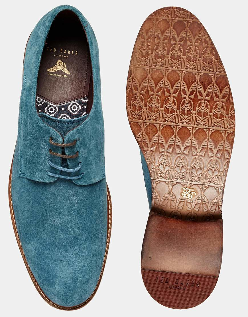 cc8439e4799f Ted Baker Joehal Suede Derby Shoes in Blue for Men - Lyst