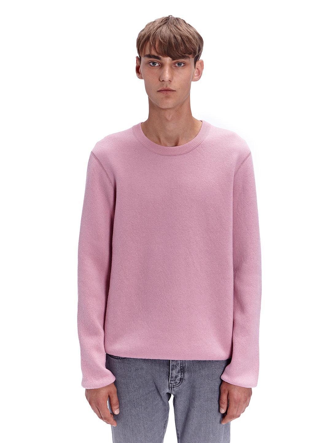 Wool Sweater Grey: Lanvin Mens Bicolour Crew Neck Wool Sweater In Pink