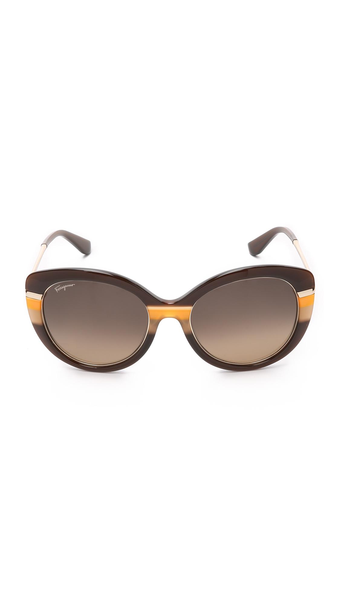 Ferragamo Cat Eye Sunglasses In Brown