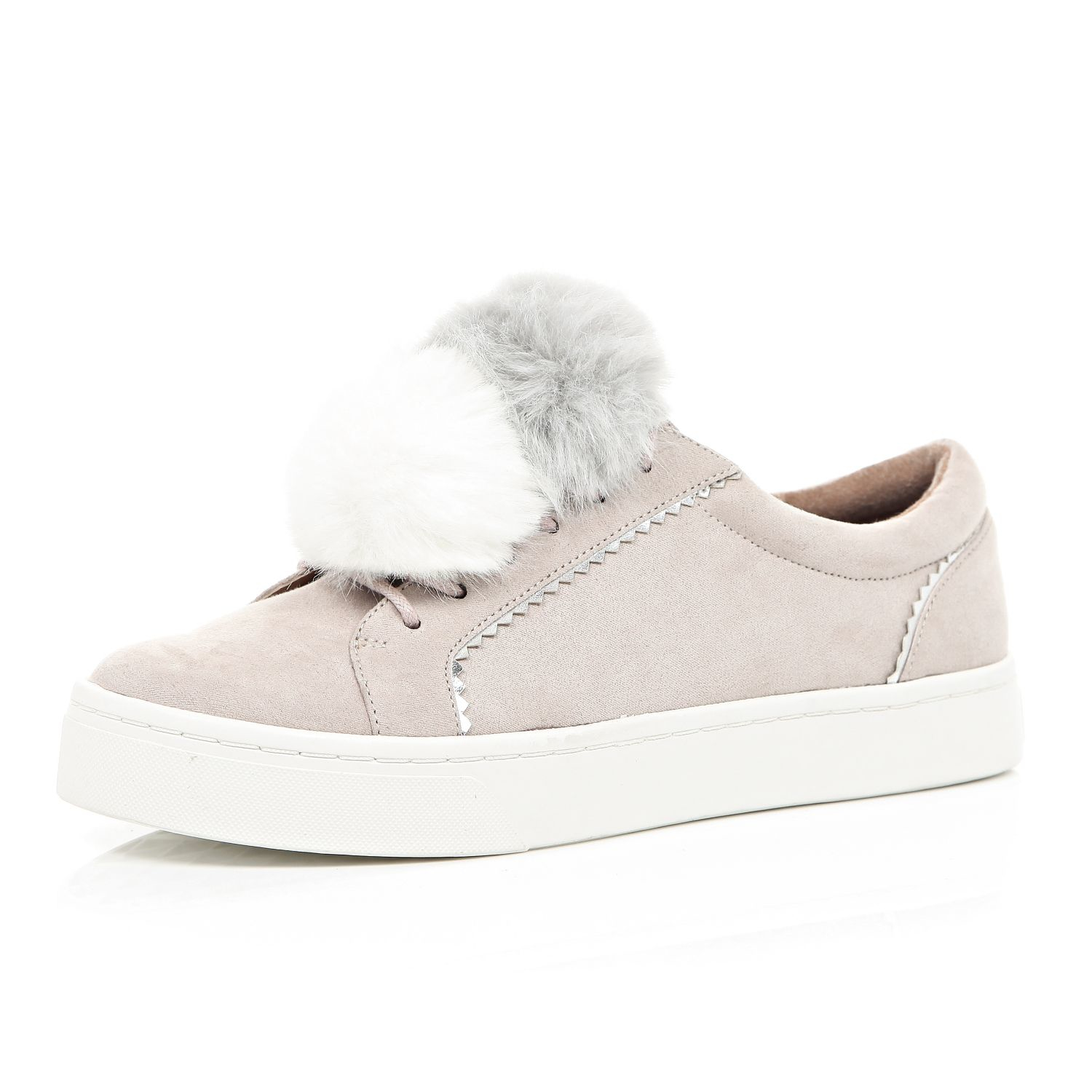 Womens White diamante trim plimsolls River Island ld2tdrNNe