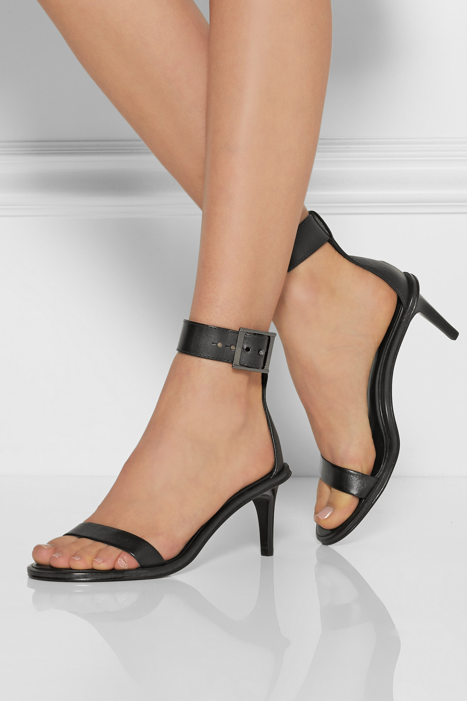 Lyst Tibi Ivy Buckled Leather Sandals In Black