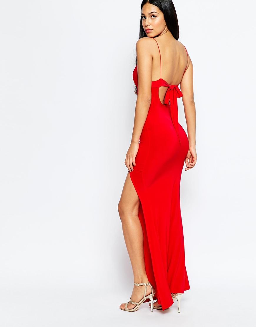 Club l Slinky Fishtail Maxi Dress in Red  Lyst