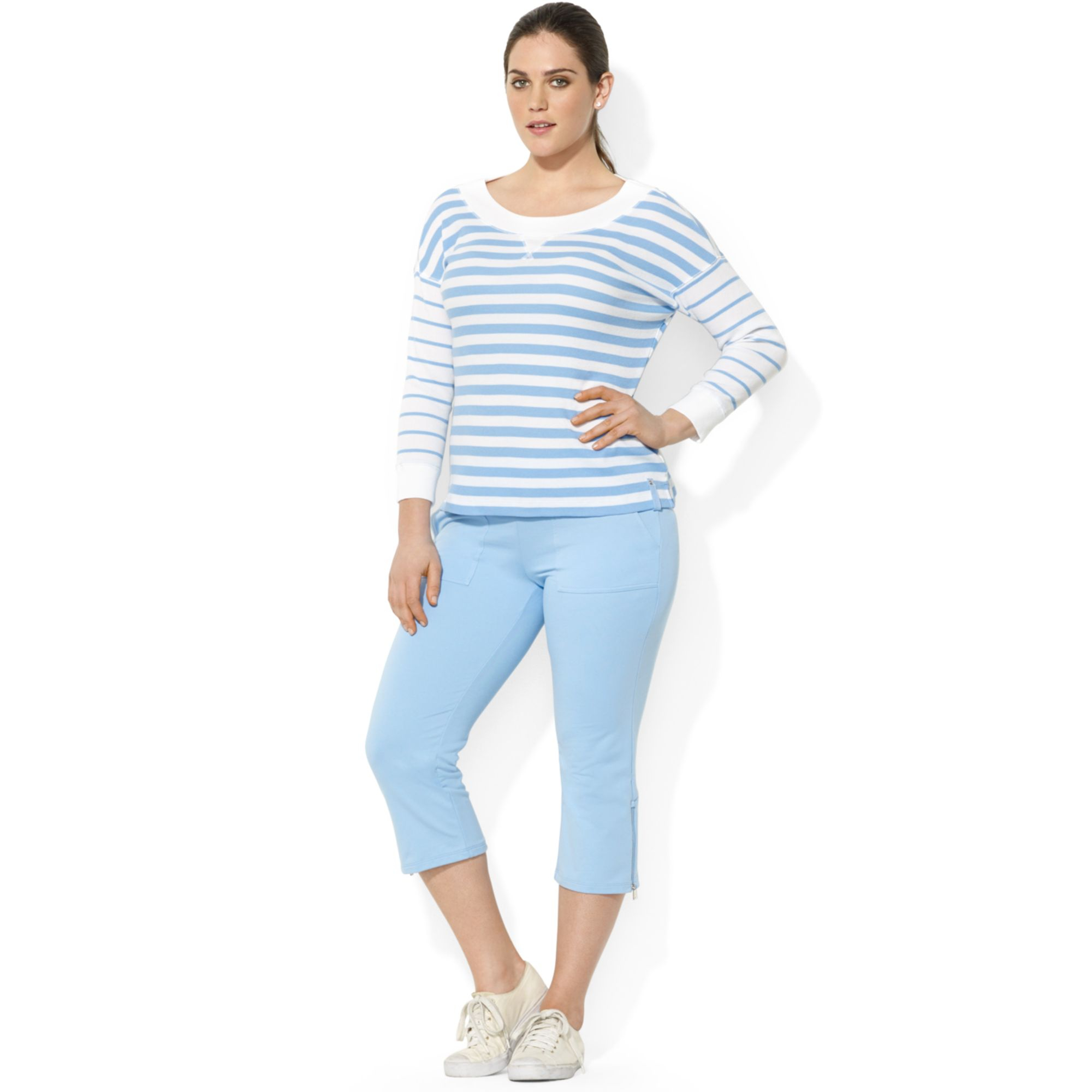 lauren by ralph lauren plus size longsleeve striped waffleknit top in blue chatham blue white. Black Bedroom Furniture Sets. Home Design Ideas
