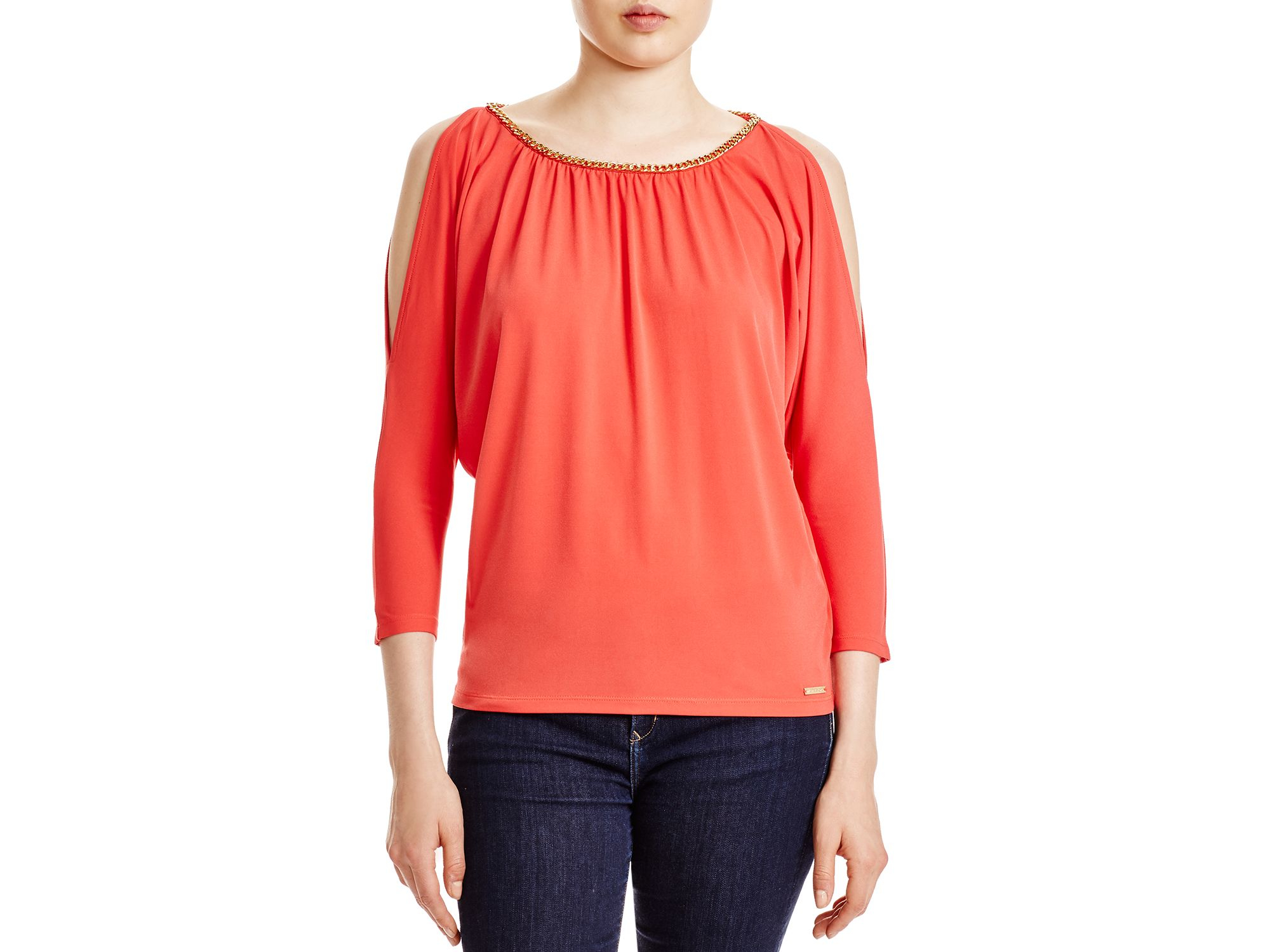 5e77e69c47f82f Lyst - Michael Michael Kors Chain Trimmed Cold Shoulder Top in Pink