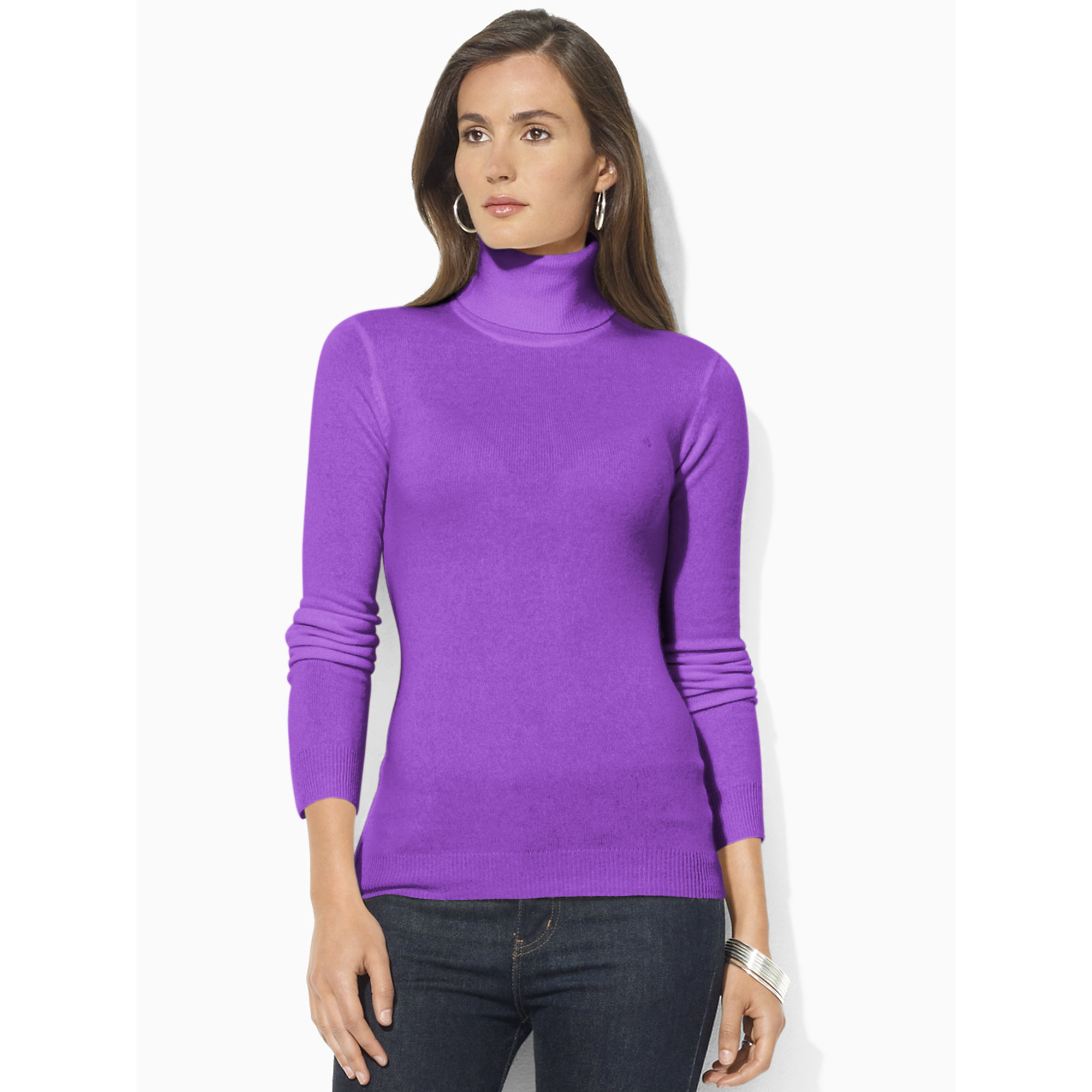 Ralph lauren Silk-cotton Turtleneck Sweater in Purple | Lyst