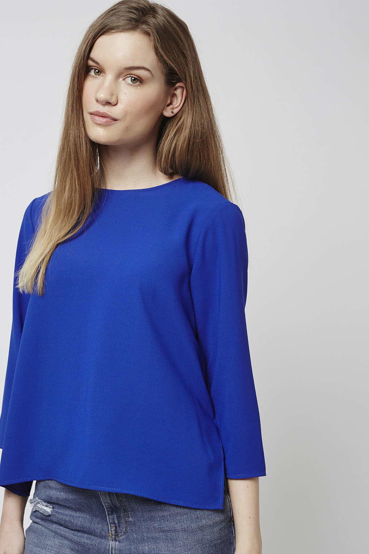 Topshop side split top in blue cobalt lyst for Adam lippes women s long sleeve vee t shirt