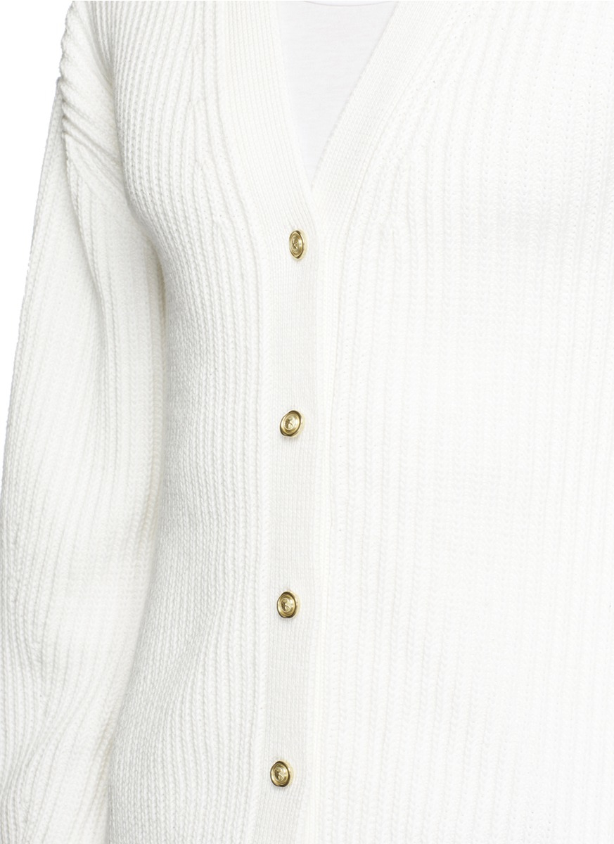 3.1 phillip lim Fishermans Rib Knit Cardigan in White for Men Lyst