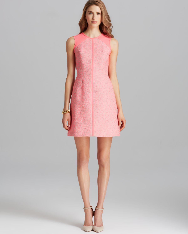 Shoshanna Dress Penelope Sleeveless Tweed in Pink   Lyst