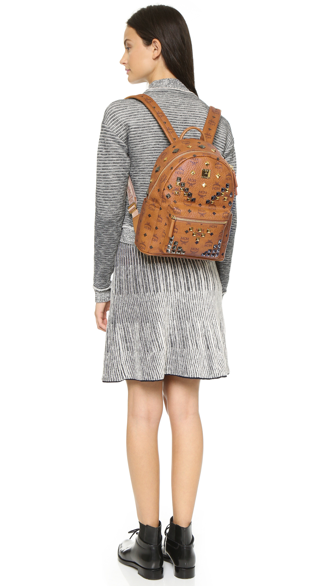 MCM Stark X-mini Side Stud Backpack in Brown - Lyst 31ecdce6fbf85